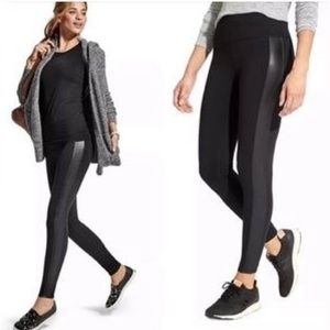 Athleta leggings with faux leather sidestripe